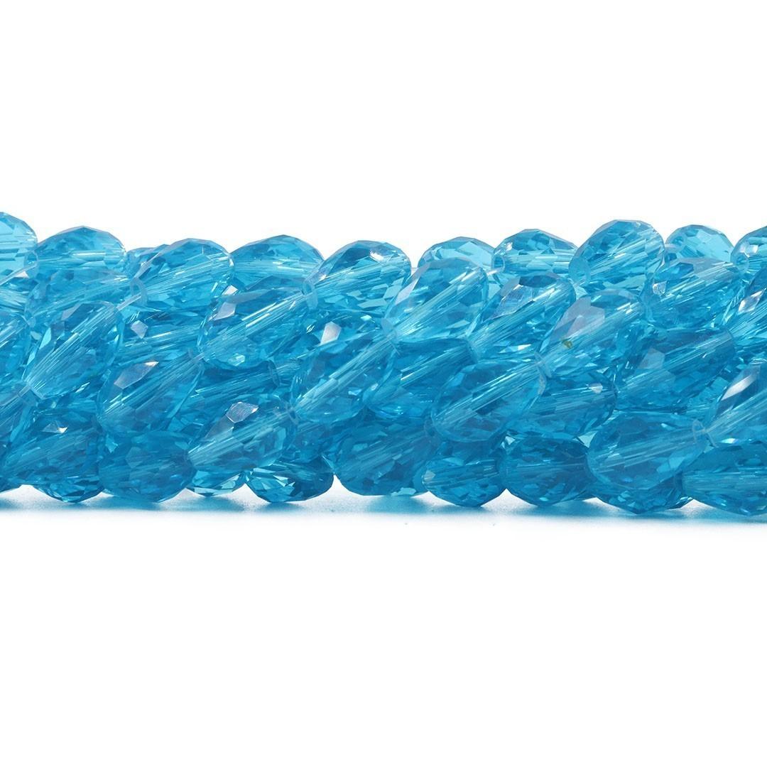 Gota de Cristal de Vidro Azul Topázio 15x10mm Facetada - CV391  - ArtStones