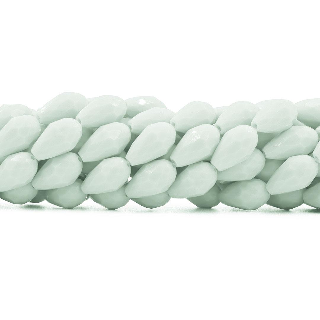 Gota de Cristal de Vidro Branco 15x10mm - CV315  - ArtStones