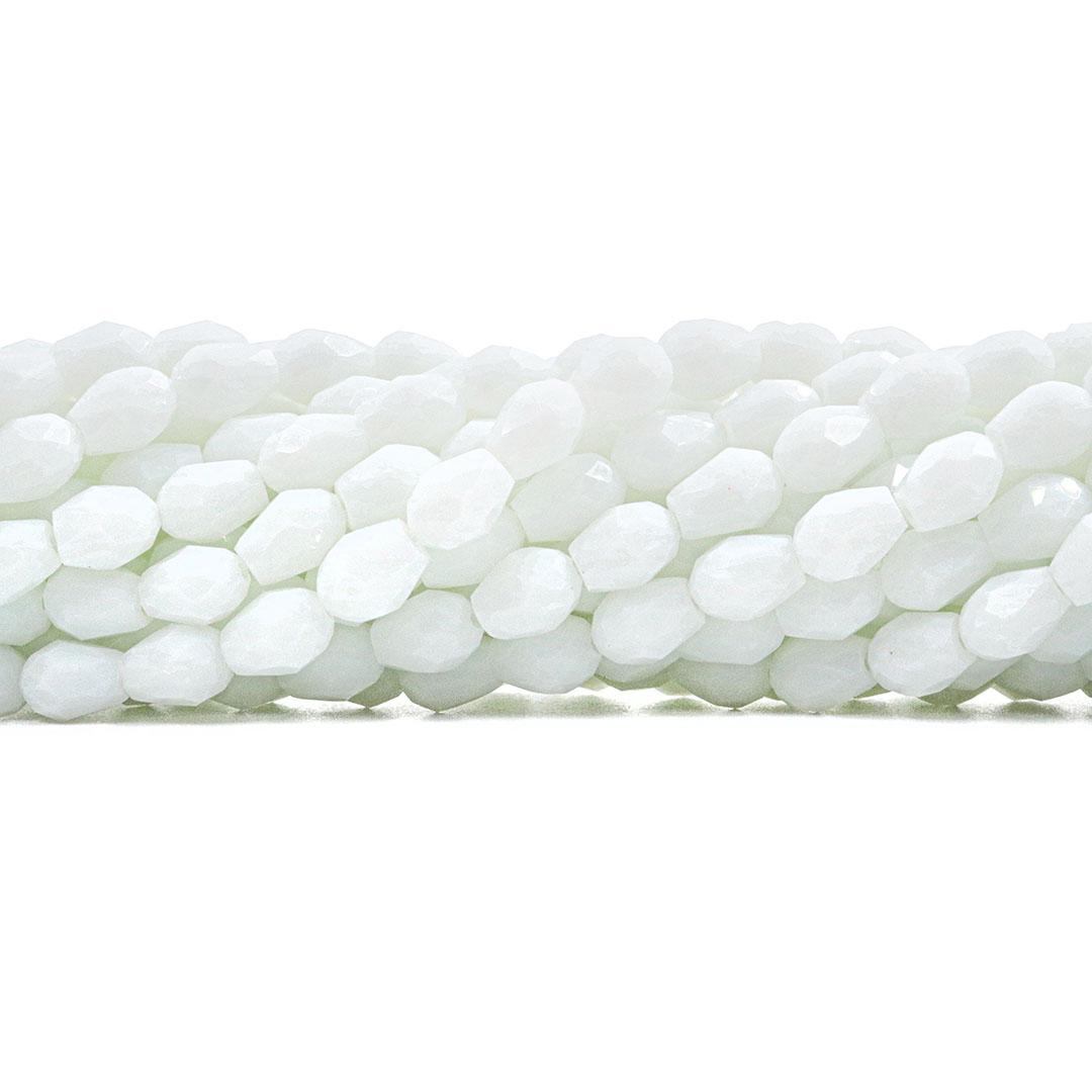 Gota de Cristal de Vidro Branco Leitoso Facetado 8x6mm - CV130  - ArtStones