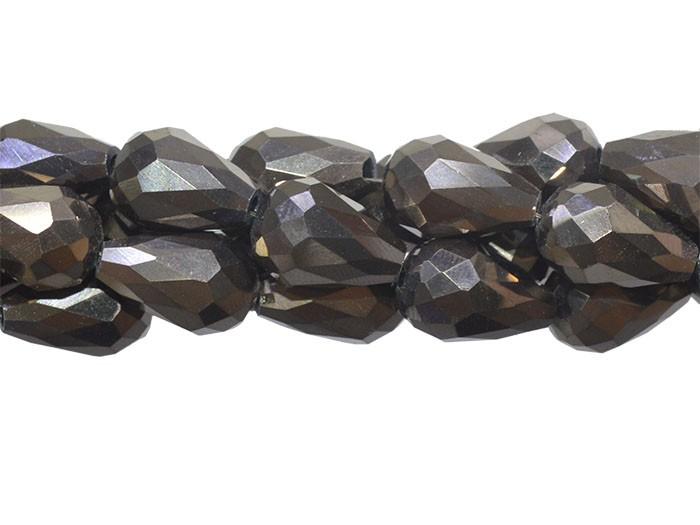 Gota de Cristal de Vidro Café Metalizado 12x8mm - 6 peças - CV165  - ArtStones