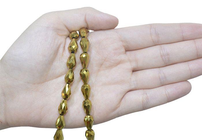 Gota de Cristal de Vidro Dourado 12x8mm - 6 peças - CV172  - ArtStones
