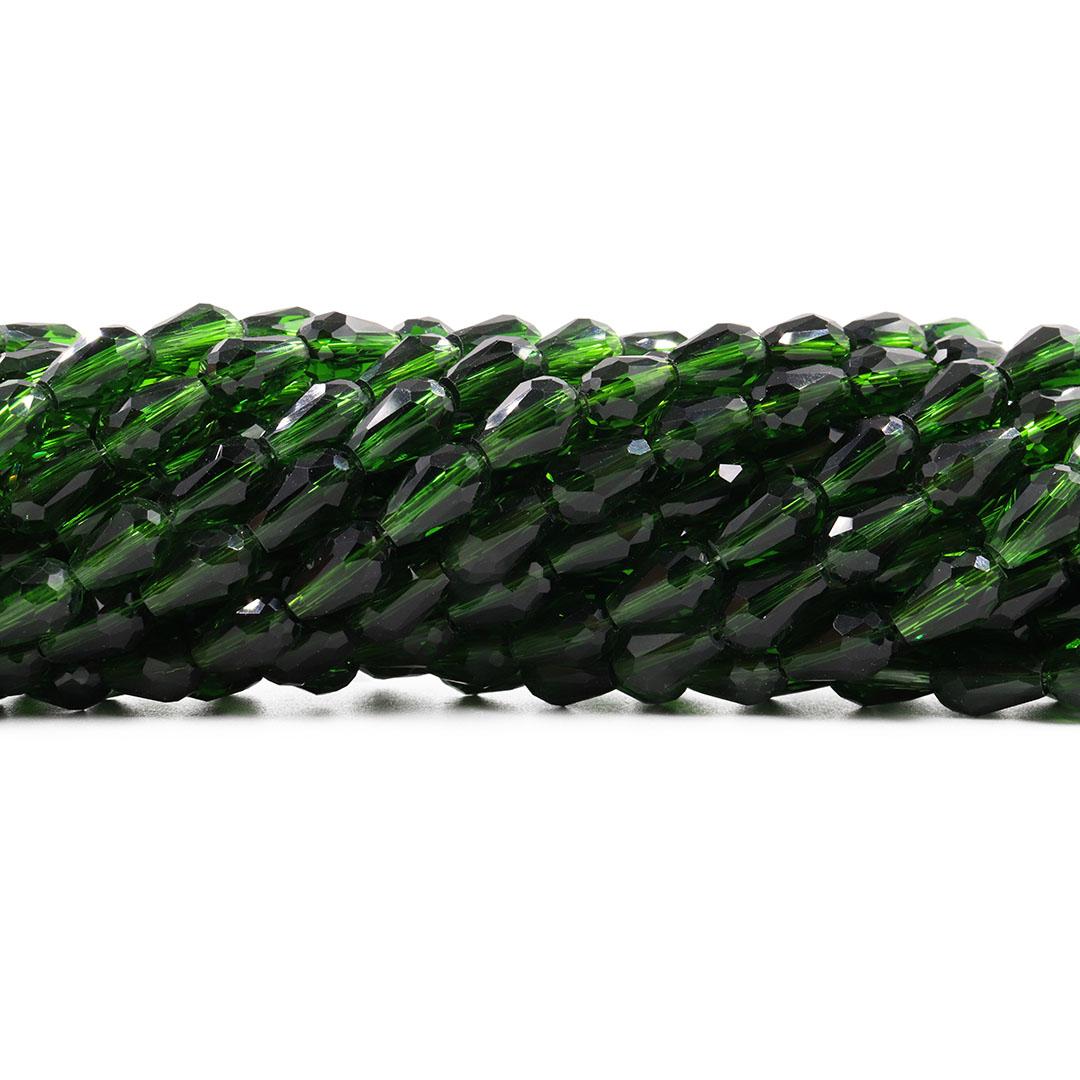 Gota de Cristal de Vidro Esmeralda Translúcido 11x8mm - CV157  - ArtStones