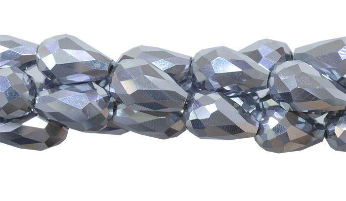 Gota de Cristal de Vidro Prateado 15x10mm Facetada -  CV170  - ArtStones