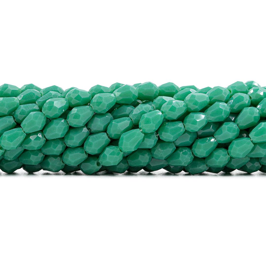 Gota de Cristal de Vidro Verde Leitoso Facetado 8x6mm - CV105  - ArtStones
