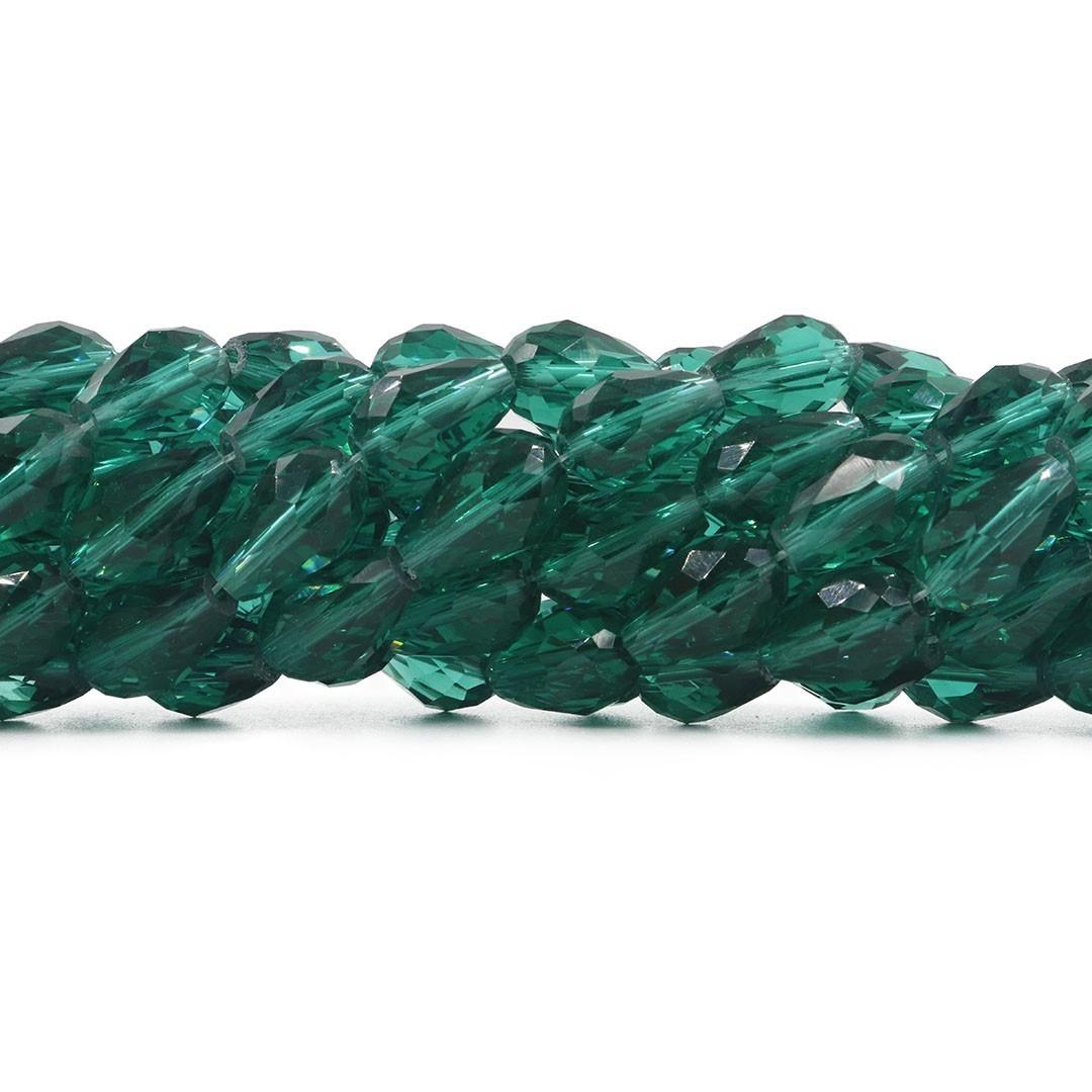Gota de Cristal de Vidro Verde Oceânico 15x10mm Facetada - CV415  - ArtStones