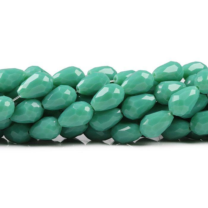 Gota de Cristal de Vidro Verde Turquesa 12x8mm - CV192  - ArtStones