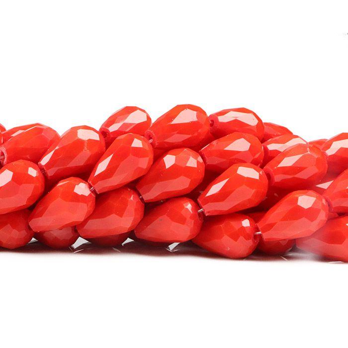 Gota de Cristal de Vidro Vermelho 15x10mm Facetada - CV200  - ArtStones