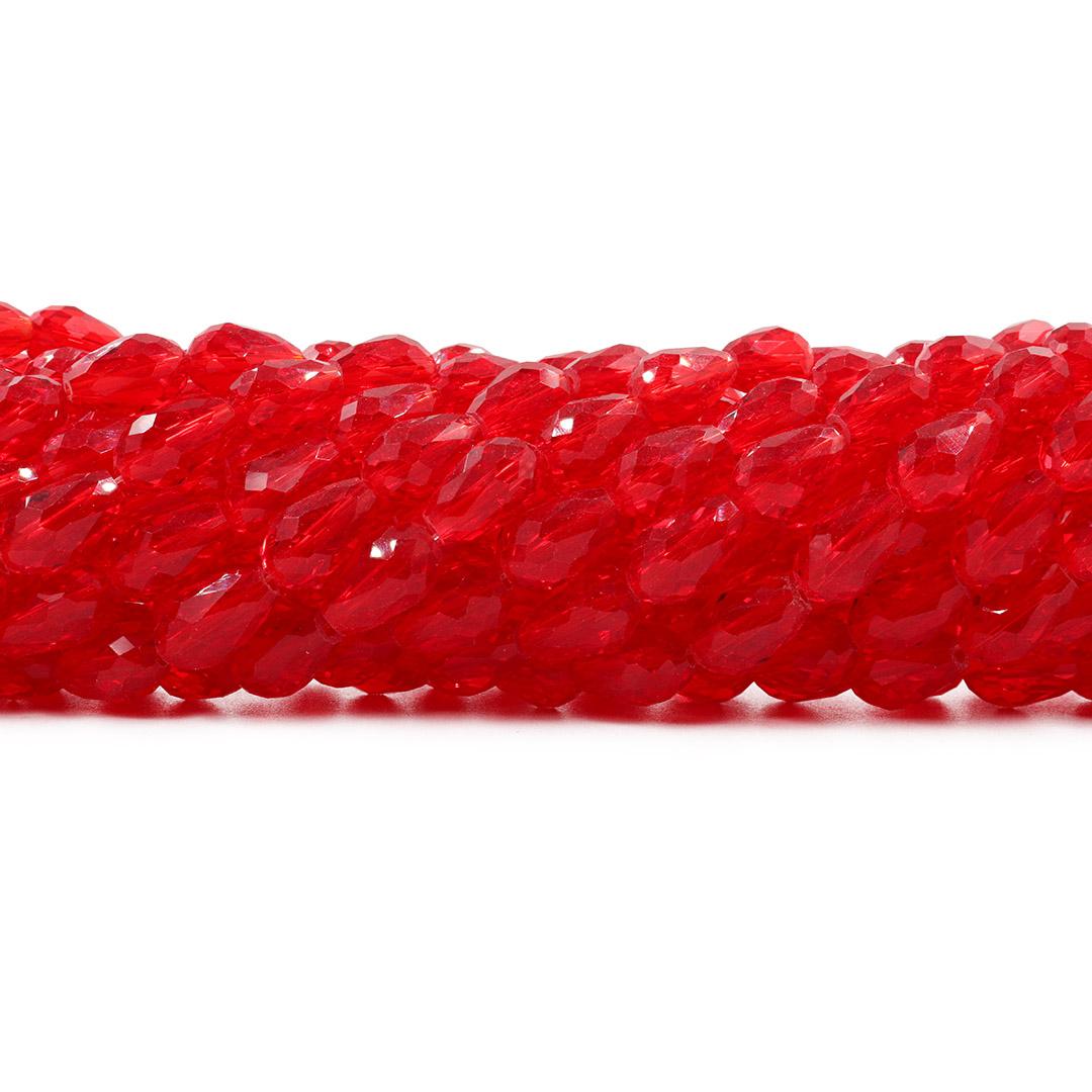 Gota de Cristal de Vidro Vermelho Translúcido 12x7mm - CV300  - ArtStones