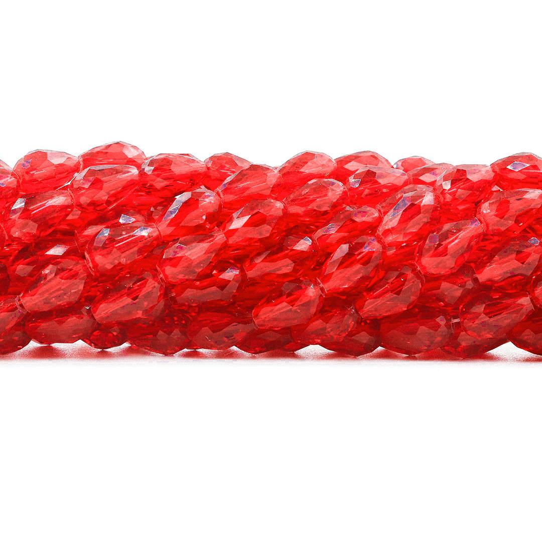 Gota de Cristal de Vidro Vermelho Translúcido 16x10mm - CV425  - ArtStones