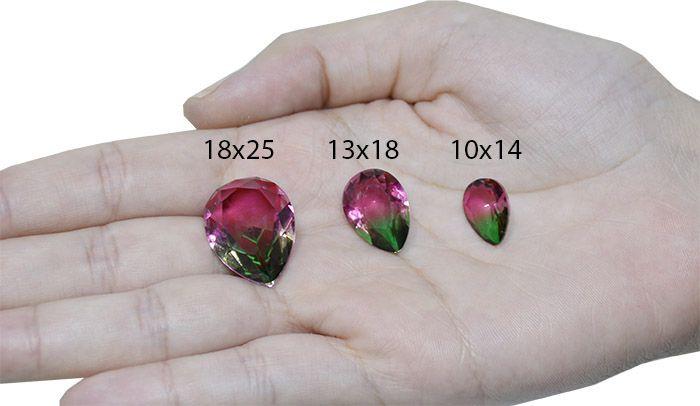 Gota de Cristal Turmalina Bicolor 10x14mm - 01 peça - CL001  - ArtStones