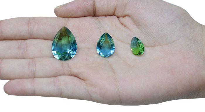 Gota de Cristal Turmalina Bicolor 13x18mm - 01 peça - CLU_202  - ArtStones