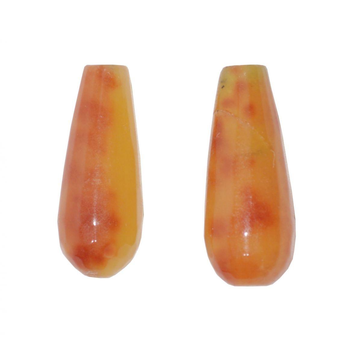 Gota Facetada de Jade Opala de Fogo 28x10mm  - 2 Peças - PA024  - ArtStones