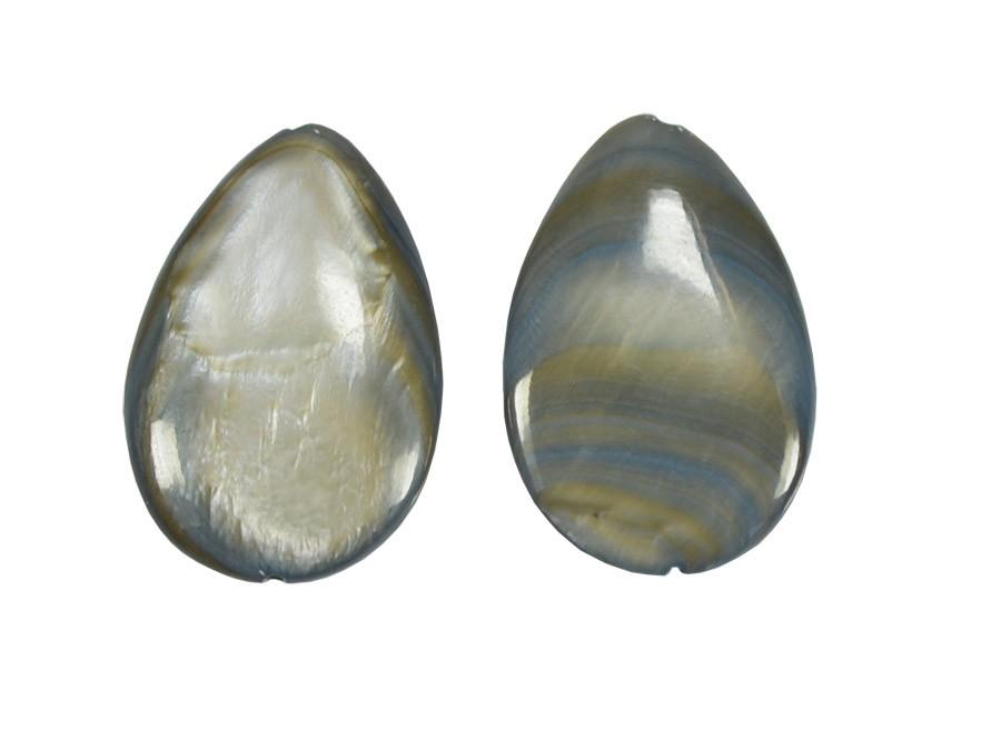 Gota de Madrepérola Cinza 20x30mm - 2 Peças - PMO_87  - ArtStones