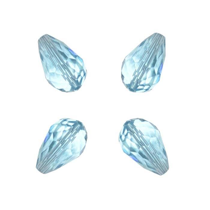 Gota de Cristal de Vidro Azul Topazio 15x10mm Facetada - 6 Peças - CV167  - ArtStones