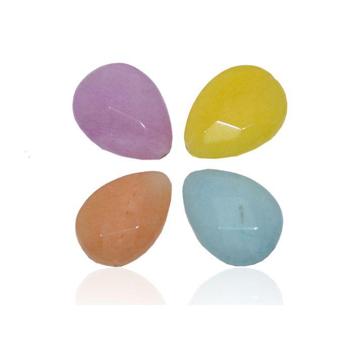 Gota Facetada de Jade Natural 18x13mm - Cores Variadas - 4 Peças - PA060  - ArtStones