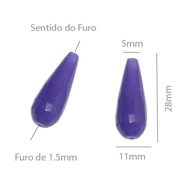 Gota Facetada de Jade 28x10mm em Cores Variadas - Par - PA001  - ArtStones