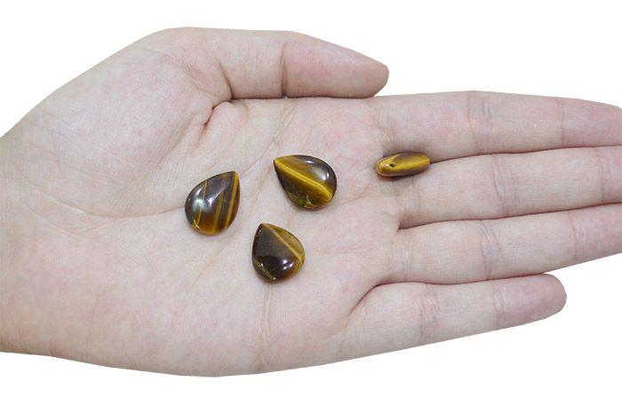 Gota Lisa de Olho de Tigre Natural 18X13mm - 4 Peças - PA065  - ArtStones