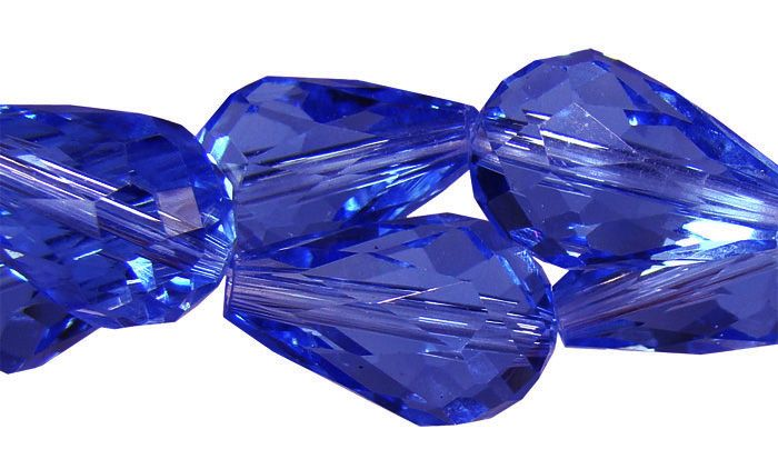 Gota Multifacetada  de Cristal de Vidro Azul Bic 12x8mm - 6 Peças - FCR_303  - ArtStones