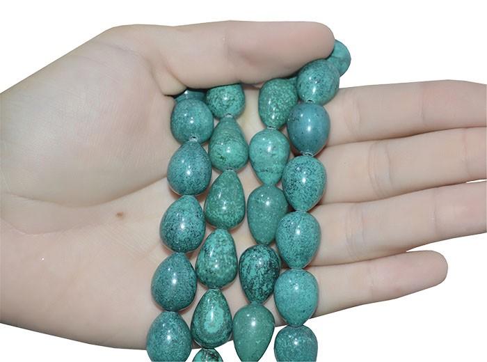 Gota de Turquesa Verde Reconstituída 18x12mm - 03 peças - PMO_529  - ArtStones