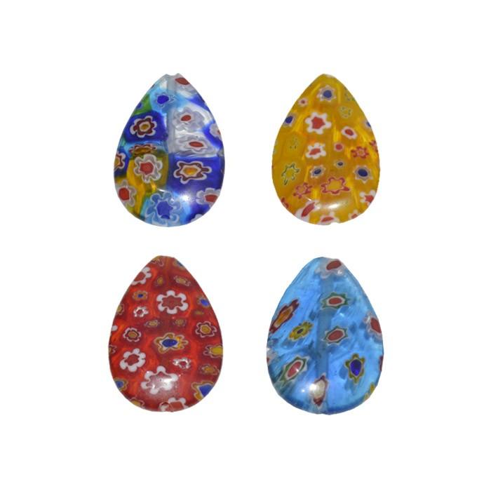 Gota de Murano Mil Flores 25x17mm  - 1 Peça - EMU_29  - ArtStones