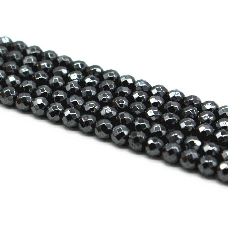 Hematita Natural Fio com Esferas Facetadas de 4mm - FH083  - ArtStones
