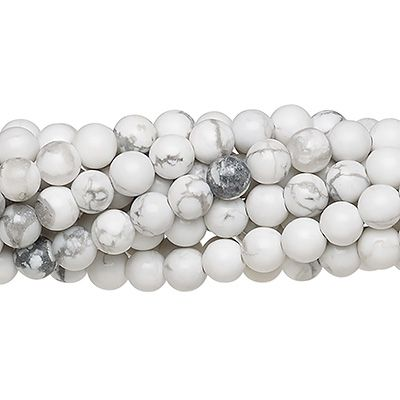 Howlita Branca Fosca Fio com Esferas de 6mm - F252  - ArtStones