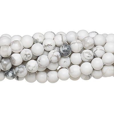 Howlita Branca Fosca Fio com Esferas de 10mm - F254  - ArtStones
