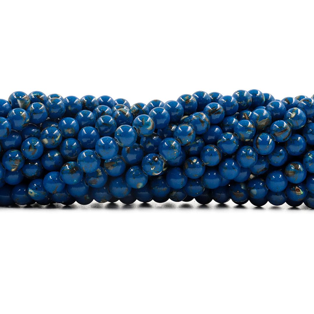 Howlita Collormix Azul Intenso Fio com Esferas de 6mm - F031  - ArtStones