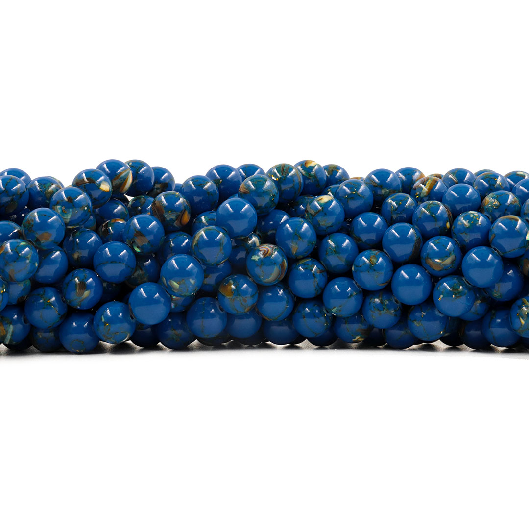 Howlita Collormix Azul Intenso Fio com Esferas de 8mm - F048  - ArtStones