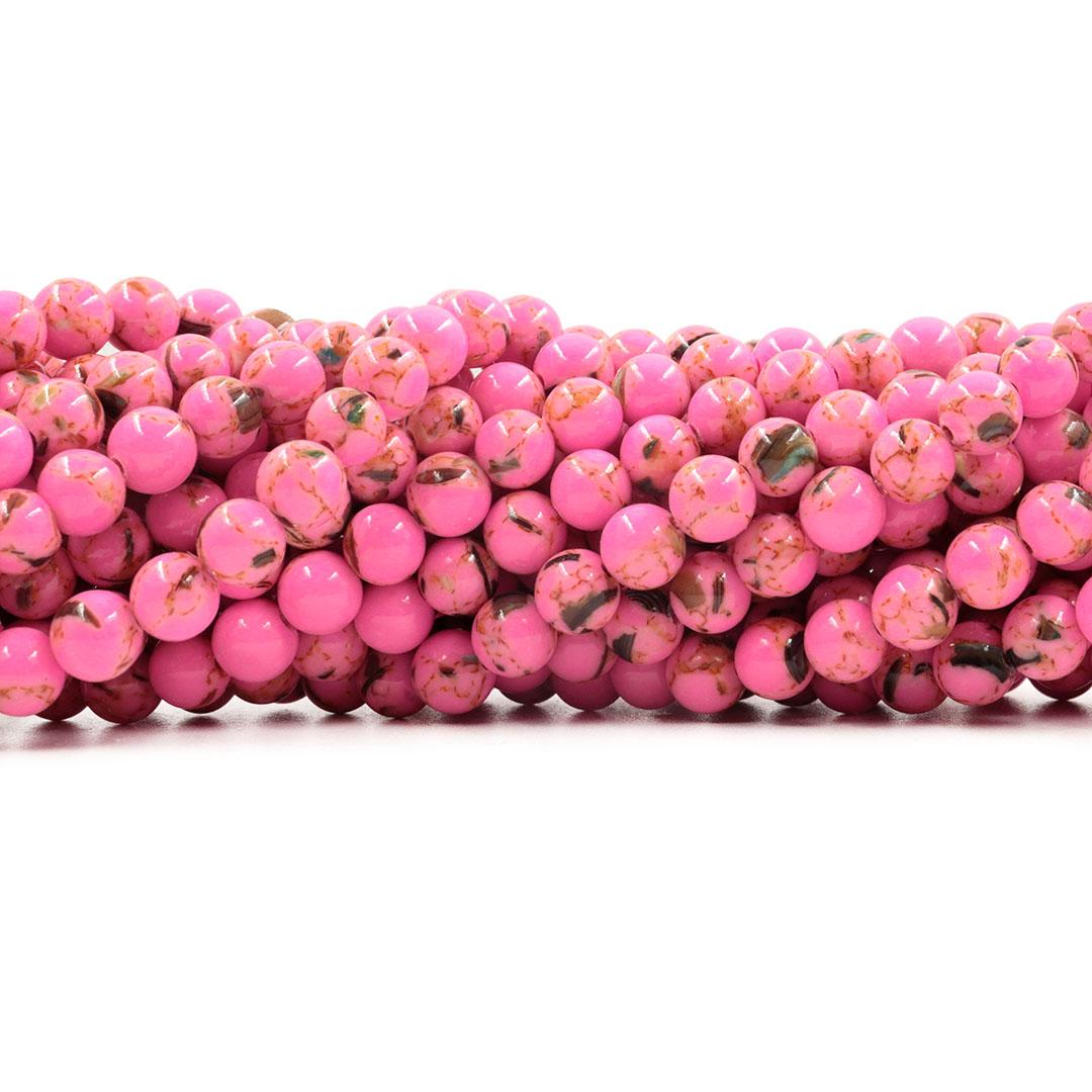 Howlita Collormix Pink Fio com Esferas de 6mm - F107  - ArtStones