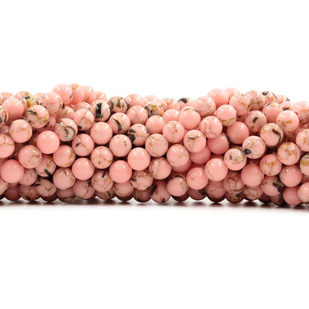 Howlita Collormix Rose Fio com Esferas de 6mm - F337  - ArtStones