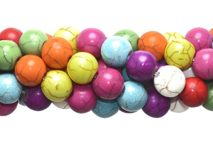 Howlita Mix Rajada Fio com Esferas de 10mm - F274  - ArtStones