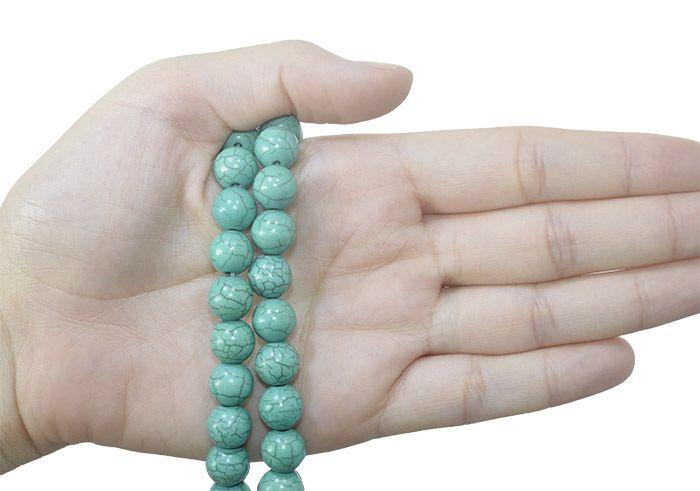 Howlita Verde Reconstituída Fio com Esferas de 10mm - F255  - ArtStones