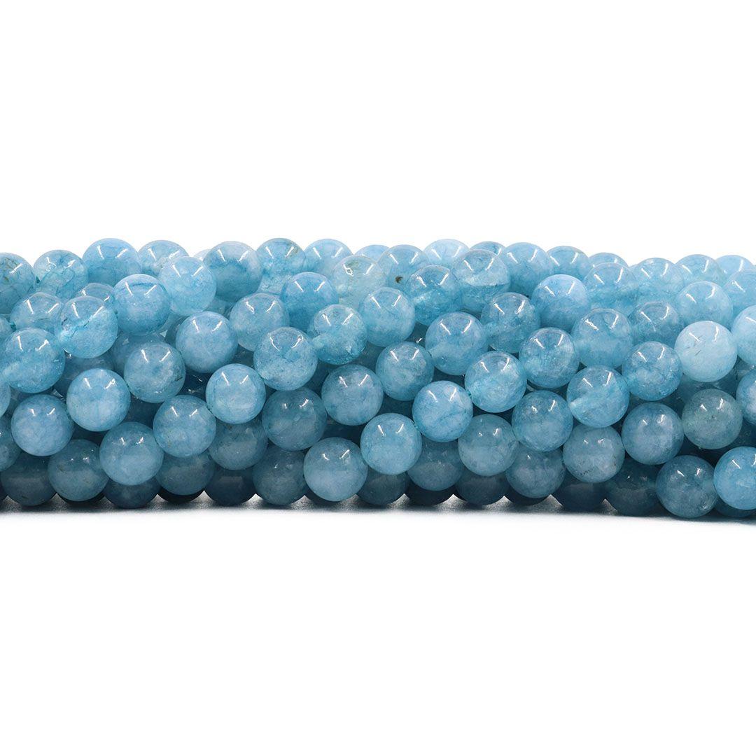 Jade Água Marinha Dark Fio com Esferas de 6mm - F295  - ArtStones