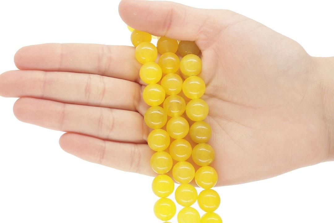 Jade Amarelo Citrus Fio com Esferas de 12mm - F287  - ArtStones