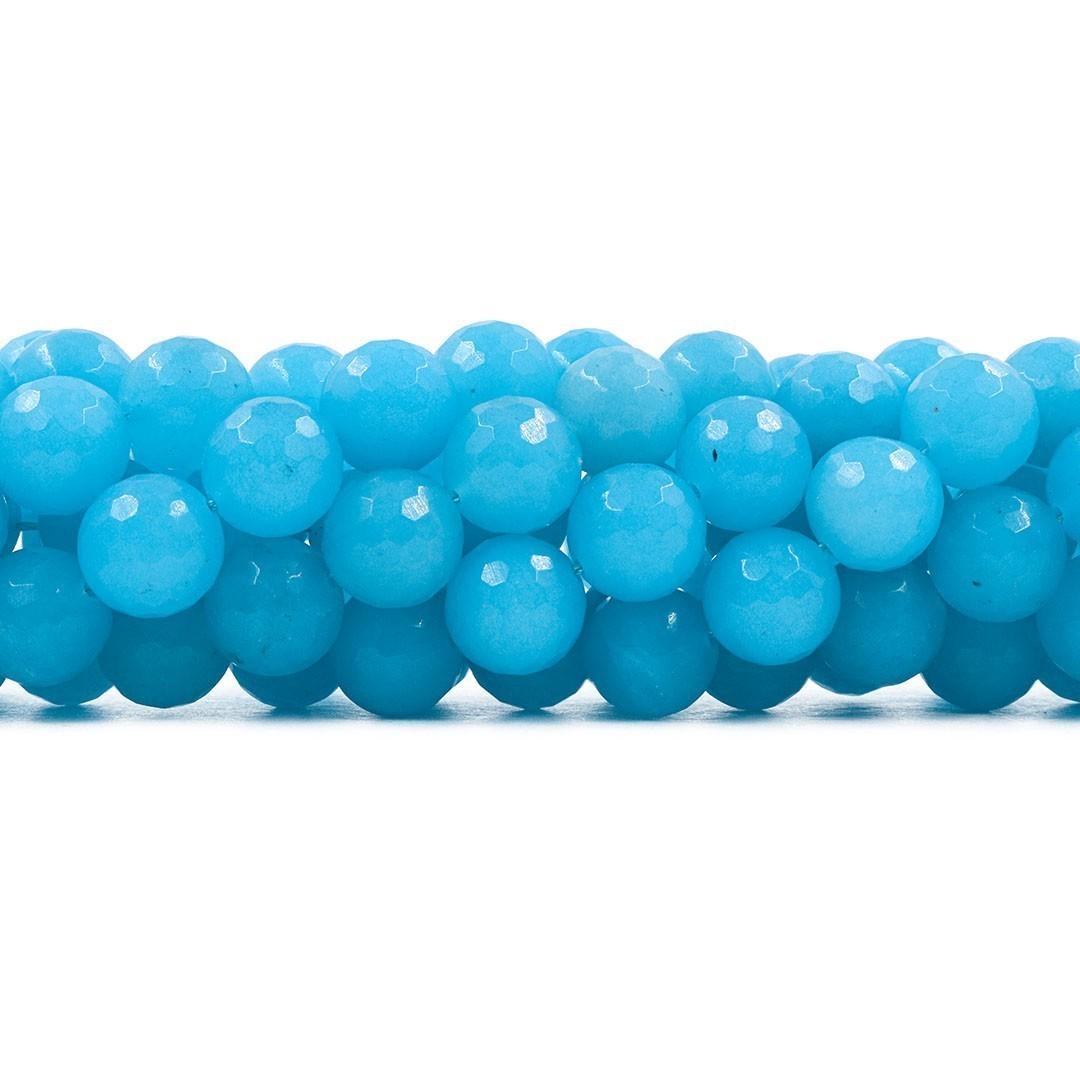 Jade Azul Céu Fio com Esferas Facetadas de 12mm - F298  - ArtStones