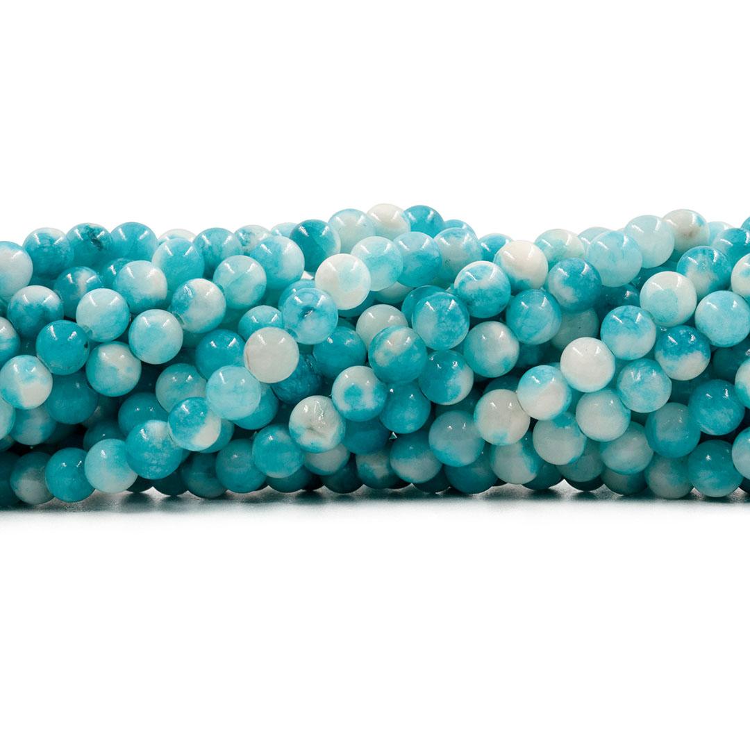 Jade Azul Céu Mesclado Fio com Esferas de 6mm - F119  - ArtStones