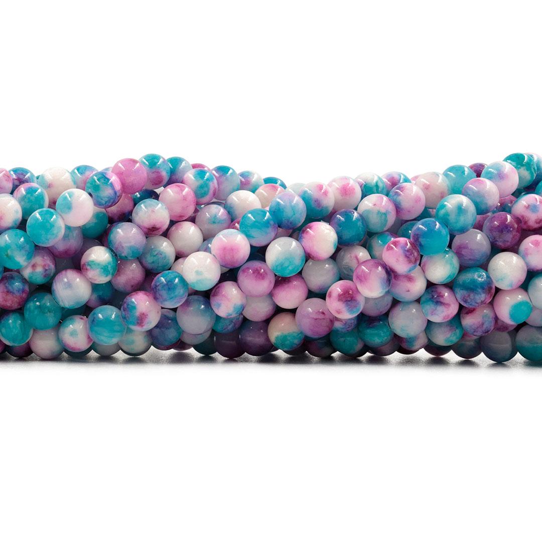 Jade Azul Mesclado Fio com Esferas de 6mm - F126  - ArtStones