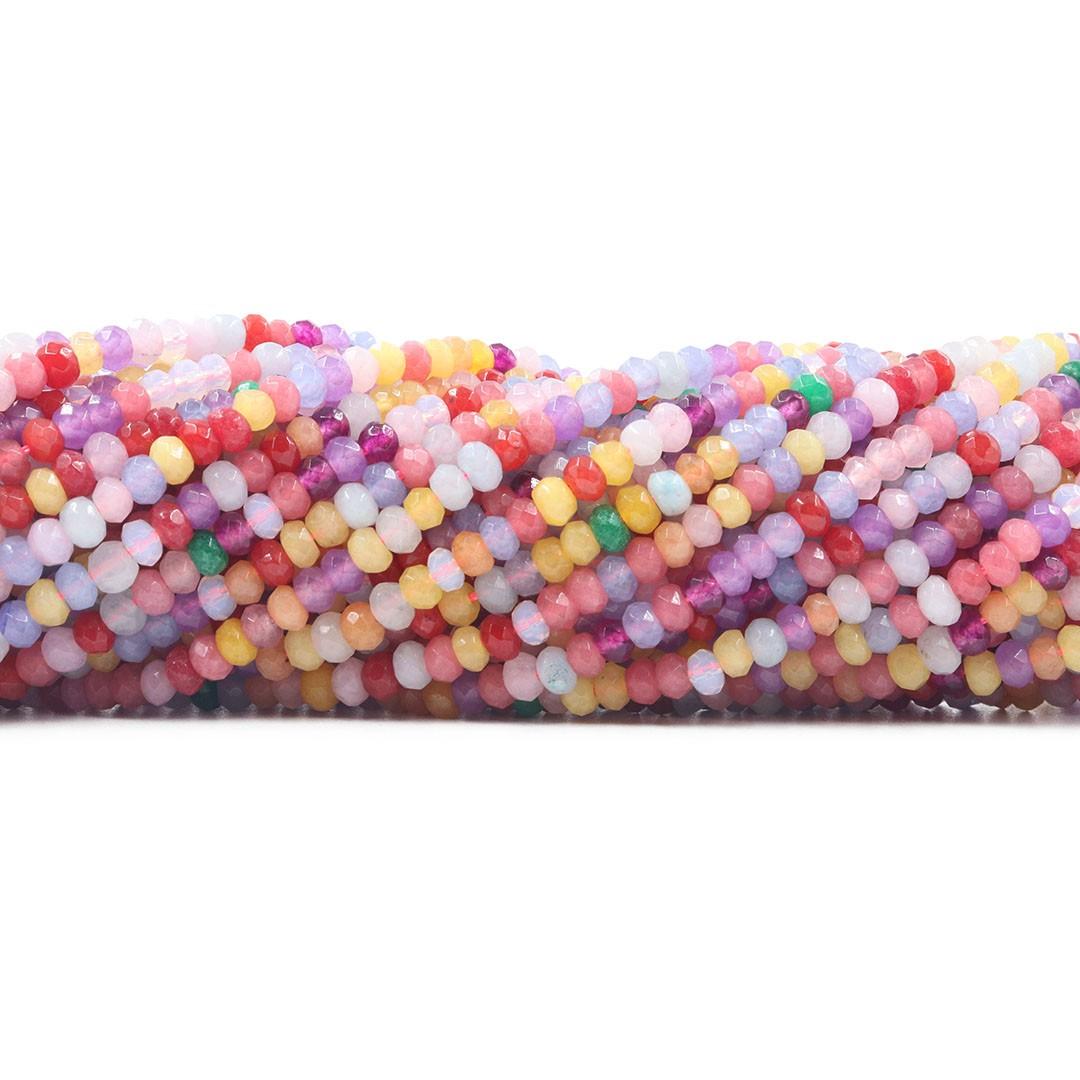 Jade Candy Collor Formato Briolet Facetado de 4mm - F662  - ArtStones