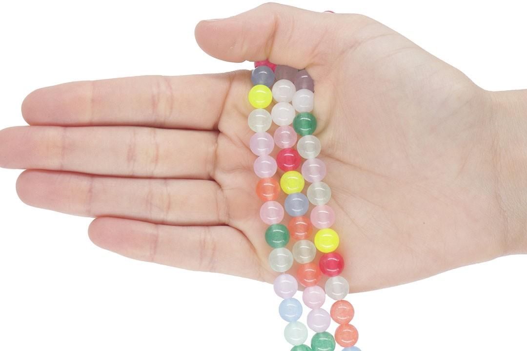 Jade Candy Mix Fio com Esferas de 8mm - F572  - ArtStones