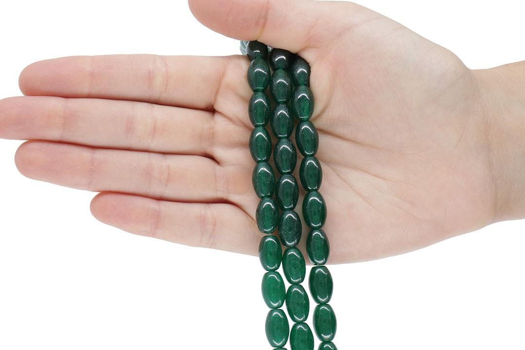 Jade Dark Green Formato Barril 12x8mm - F685  - ArtStones