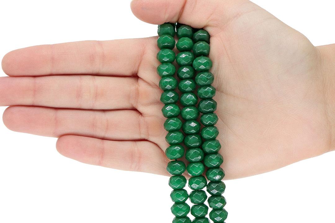 Jade Esmeralda Leitoso Formato Briolet de 10mm Facetado - F747  - ArtStones