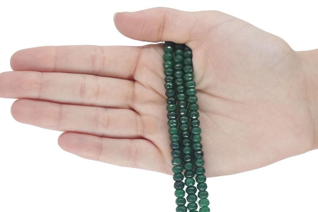 Jade Esmeralda Formato Briolet Facetado de 4mm - F561  - ArtStones