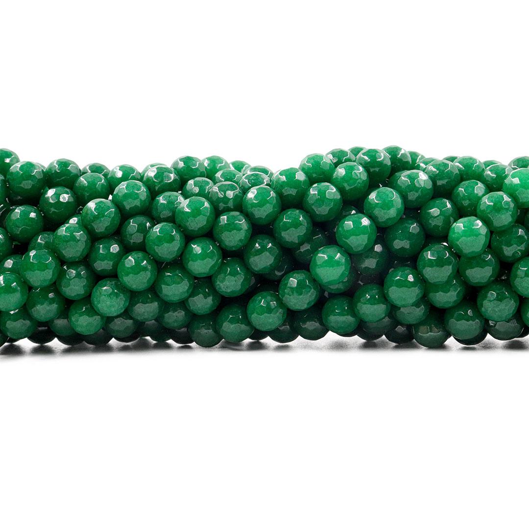 Jade Esmeralda Leitoso Facetado Fio com Esferas de 8mm - F744  - ArtStones
