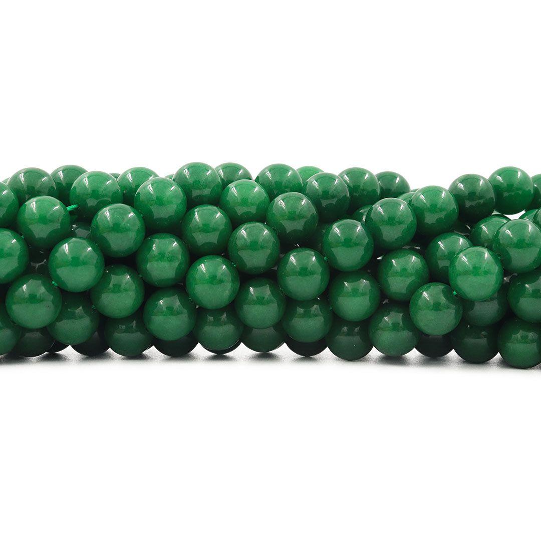Jade Esmeralda Leitoso Fio com Esferas de 10mm - F558  - ArtStones