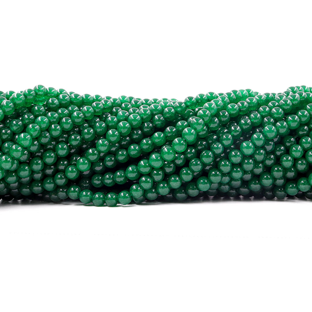 Jade Esmeralda Leitoso Fio com Esferas de 4.5mm - F557  - ArtStones