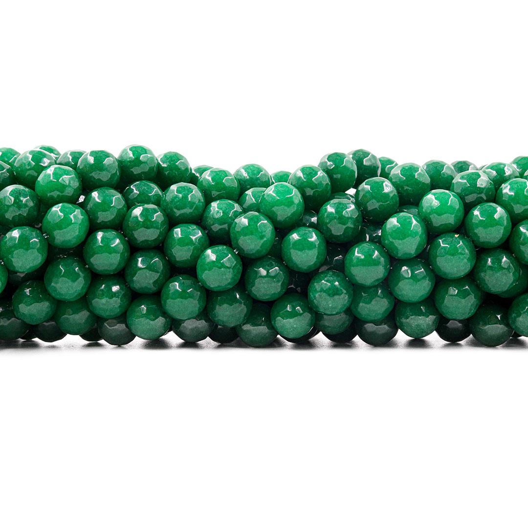 Jade Esmeralda Leitoso Facetado Fio com Esferas de 10mm - F746  - ArtStones