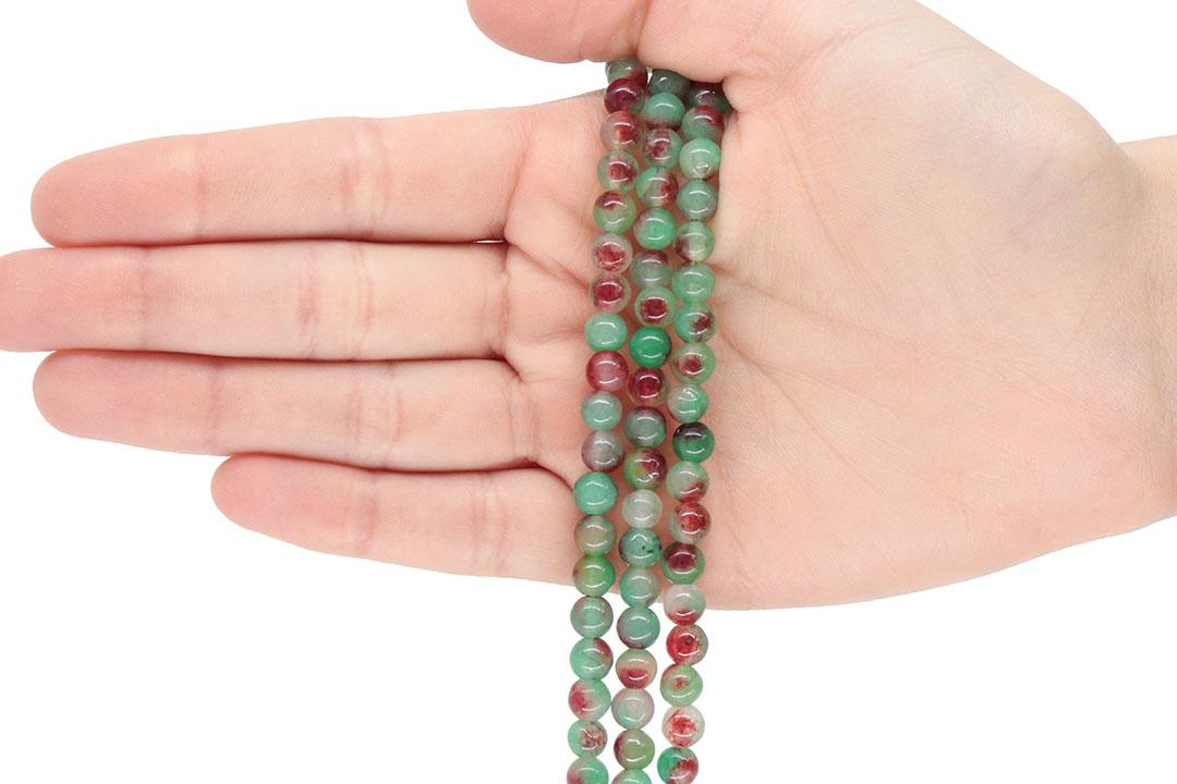 Jade Multicolor Green Fio com Esferas de 6mm - F843  - ArtStones