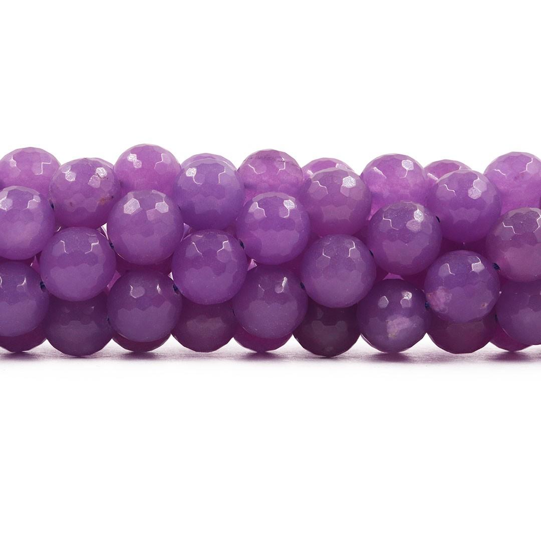 Jade Lavanda Fio com Esferas Facetadas de 12mm - F349  - ArtStones
