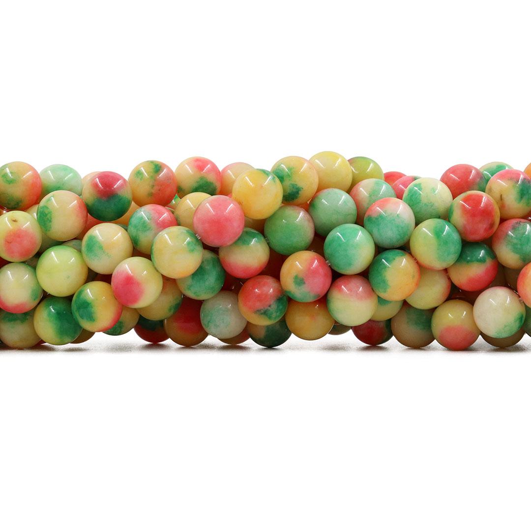 Jade Multicolor Amarelo Fio com Esferas de 10mm - F462  - ArtStones